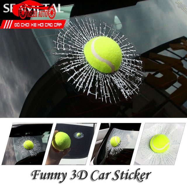 Bóng Tennis 3D Dán Kính Ô Tô