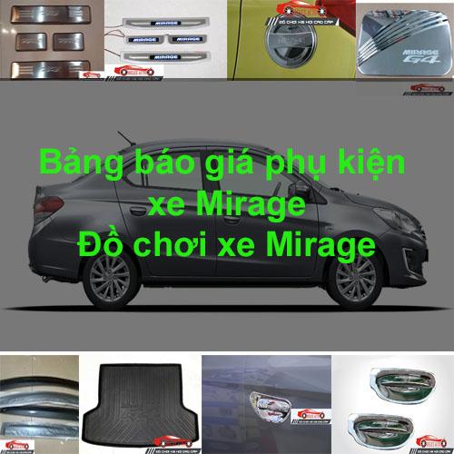 Báo giá phụ kiện, Đồ chơi Xe Mitsubishi Mirage